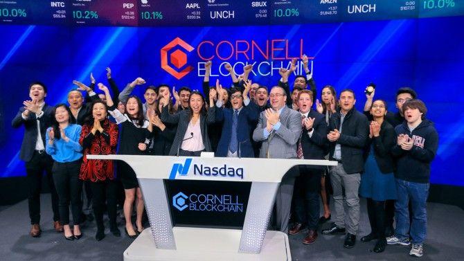 Cornell Blockchain members ring the opening bell at the Nasdaq Stock Market in April 2019. Libby Greene/Nasdaq