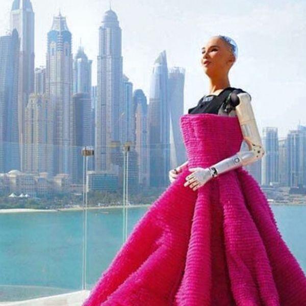 Robot human wearing pink dress