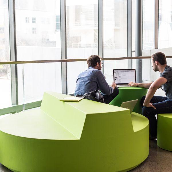 students in second floor study area