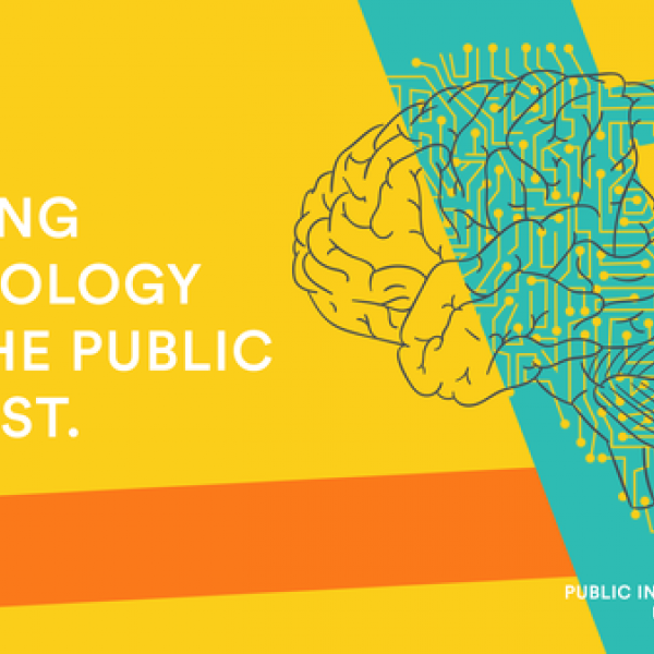 """We're bridging technology and the public interest"", a slide courtesy of Public Interest Technology University Network"