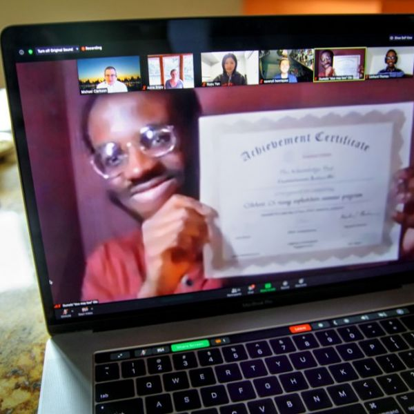 Chukwudumebi Joshua Obi '23 joins CIS faculty and students in a virtual celebration of the successful completion of the Pre-Sophomore Summer Program, CSMore.