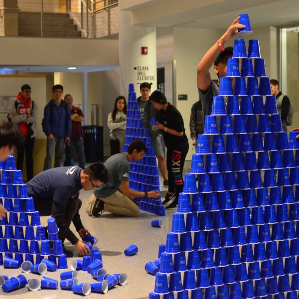 Students stacking cups competition at last year's event.