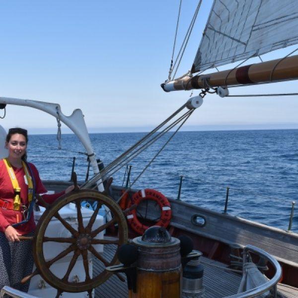 photo of Katherine Salesin on a boat