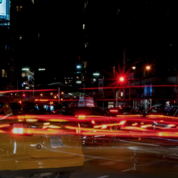 photo of highway at night