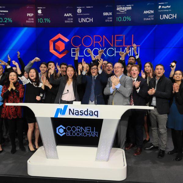 Cornell Blockchain Club ringing Nasdaq bell