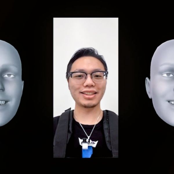 Facial recognition captured by a mobile phone camera (left), and facial reconstruction using NeckFace (right).