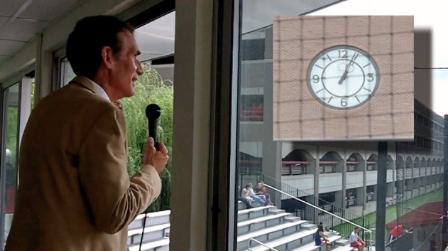 Photo of Bill Nye speaking and the Solar Noon Clock