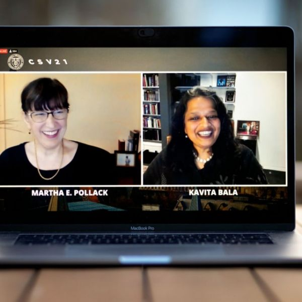 Cornell President Martha E. Pollack, left, and Kavita Bala, dean of Cornell Ann S. Bowers College of Computing and Information Science, speak via Zoom during the annual Cornell Silicon Valley event.