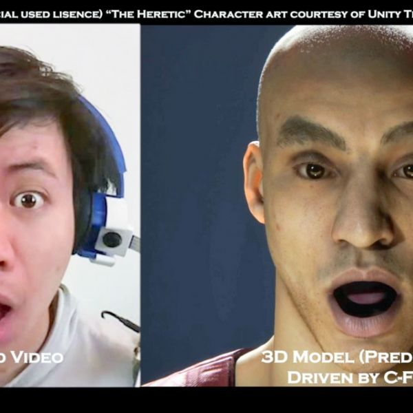 Captured video of a user's facial expression (left), with a 3D model predicted by C-Face.