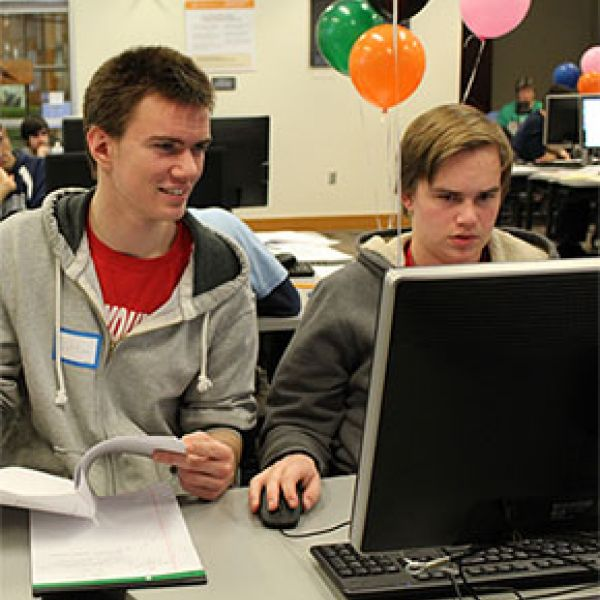 two students competing at last year's programming contest