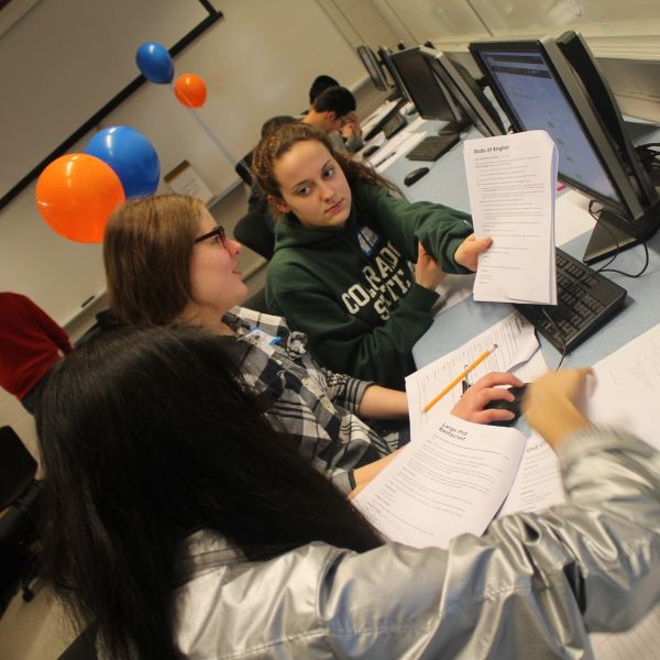 girls coding at high school programming contest