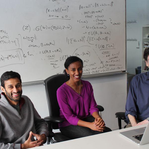 (From left) Manish Raghavan, Rediet Abebe and Jon Kleinberg