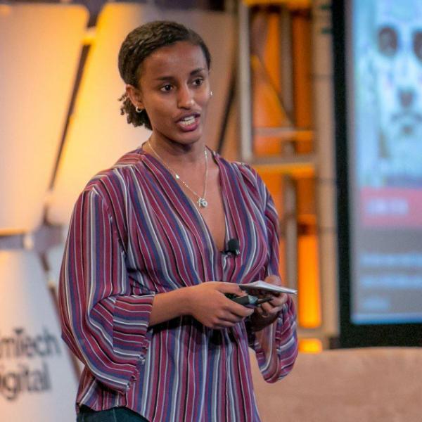 Rediet Abebe speaking at EmTech Digital