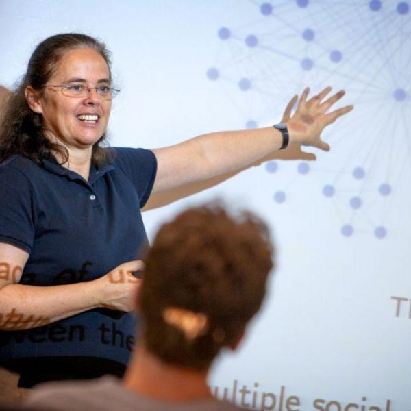 Éva Tardos, the Jacob Gould Schurman Professor of Computer Science, leads a class.