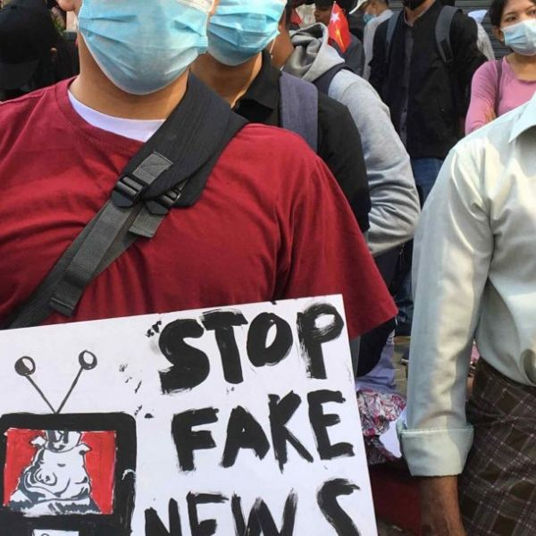 Protestors in Yangon on February 10, 2021. Image credit: Kummari (New Mandala)