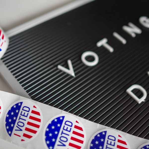 Voting day sign and stickers